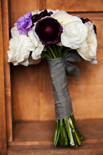 Gorgeous purple and white wedding bouquet in Corvallis