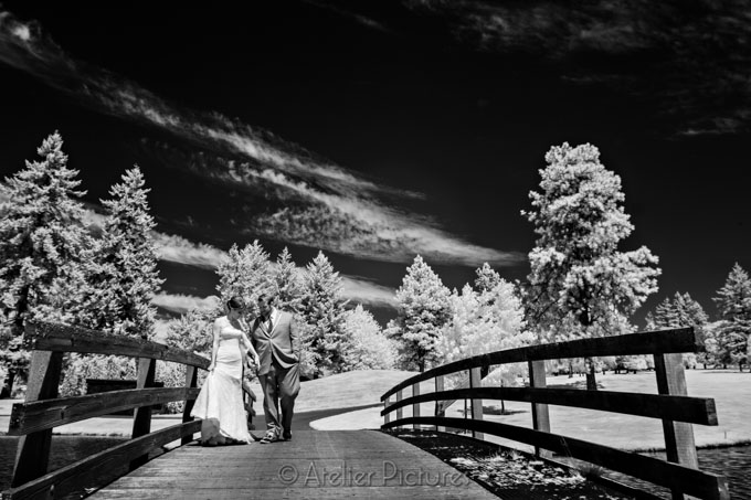 This infrared wedding photograph turns the golf course into a surreal landscape
