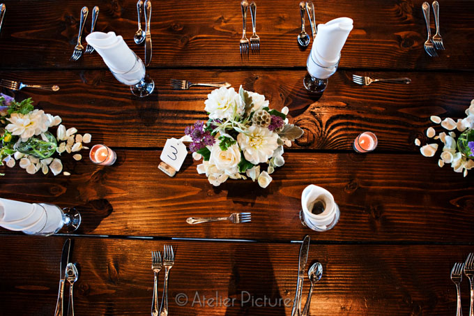 The floral and decor fit the rustic feel for the Reser Stadium Wedding