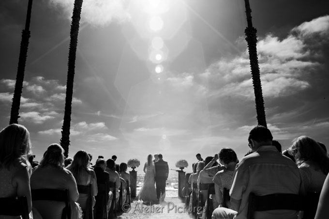 Scripps Seaside Forum Wedding ceremony in infrared