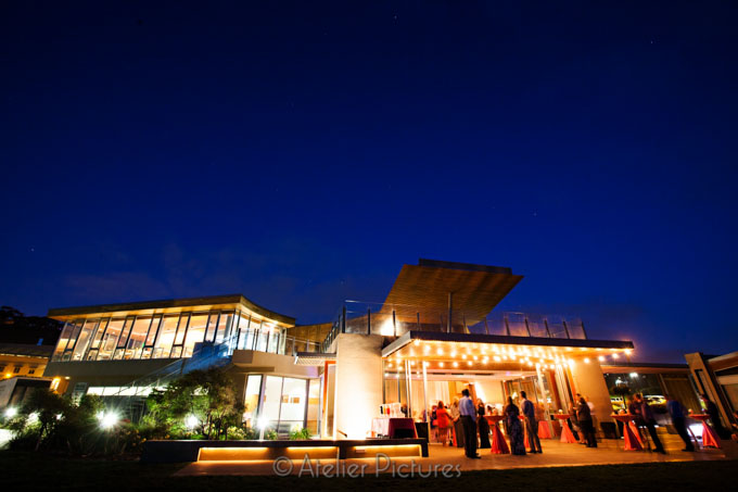 As the wedding reception carried on, the blue sky glowed behind the Scripps Seaside Forum