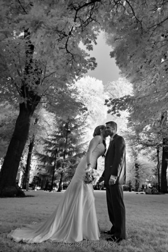 The north park blocks of downtown Portland are a great place for wedding photos