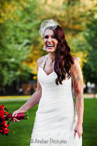The bride poses in the North Park Blocks of Downtown Portland