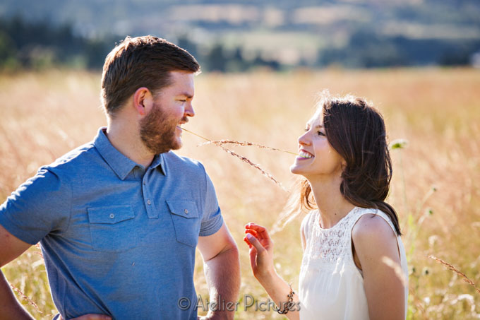 Fun moment during the engagement photos at the family farm