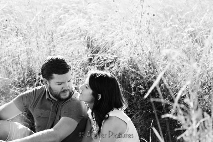 Black and white photo from the engagement session on the farm