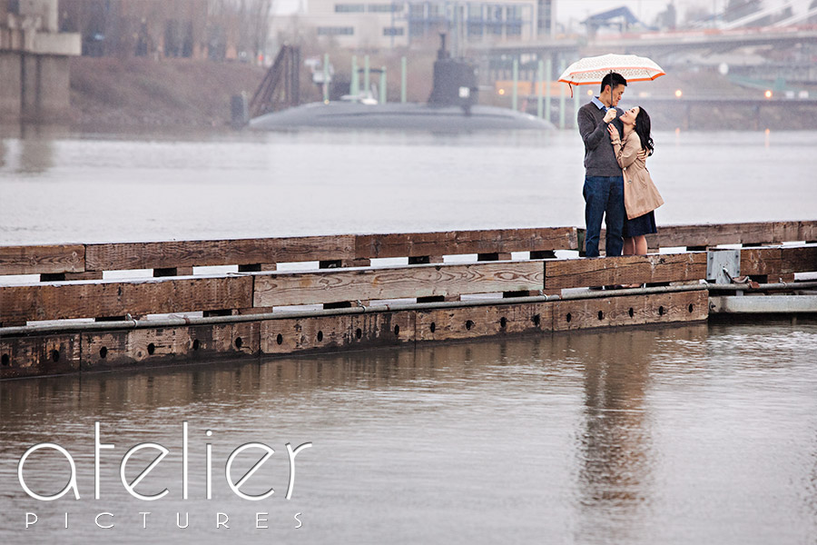 Rainy Portland Engagement Photos