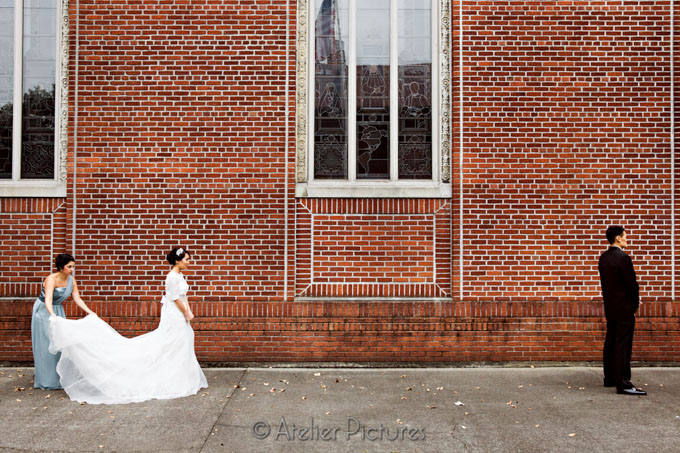 The bride and groom are ready to see each other for the first time on their wedding day