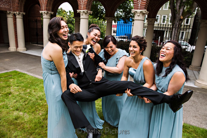 The Bridesmaids Almost Drop the Groom