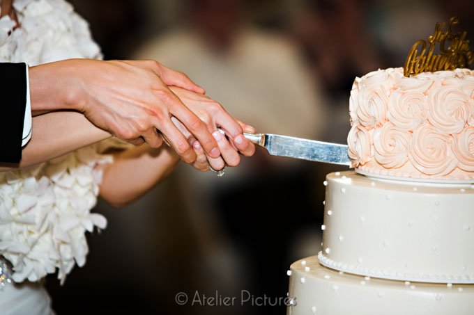The bride and groom slice up the wedding cake