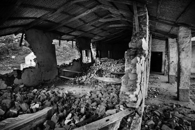 The remnants of a government school in Nuwakot