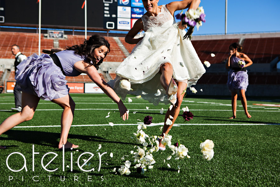 A bride kicking the bouquet